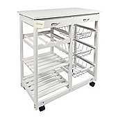 Woodluv MDF Top Double Kitchen Trolley With Storage & Shelves