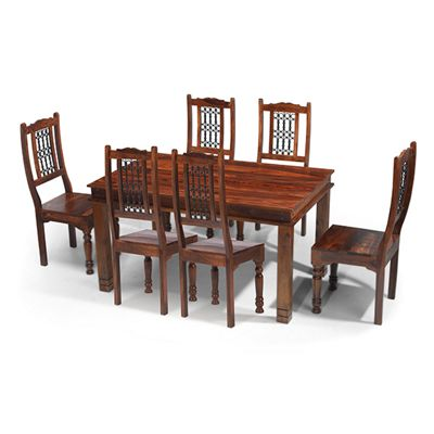 Maharajah Indian Rosewood - Dining Table & x4 High Back Standard Chair Set - Dark Brown - 160 x 90