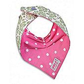Skibz Doublez Bandana Dribble Bib (Green Floral/Polka Dot Pink)