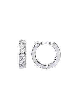 Rhodium Plated Sterling Silver Round Brilliant Cubic Zirconia Huggie Hoop Earrings