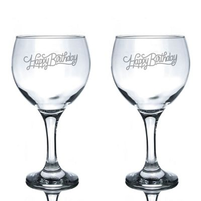 Rink Drink Engraved Spanish Gin Balloon Glasses - Happy Birthday - 645ml - Pack of 2