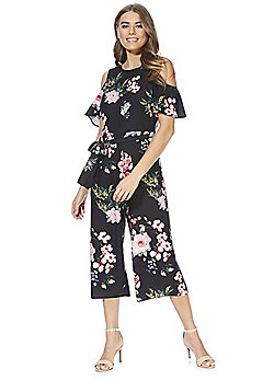 F&F Rose Print Cold Shoulder Culotte Jumpsuit - Black Multi