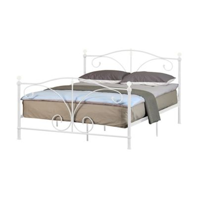 Comfy Living 5ft King Classic Metal Bed Stead Crystal Finials in White with Basic Budget Mattress