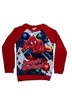 """Marvel Spiderman Children's Red """"Season's Greetings"""" Festive Jumper - Red"""