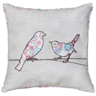 Classic Style Natural Cushion with Patterned Birds Bedroom Decor