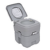Homcom Portable Travel Mobile Toilet Outdoor Camping Handle WC Grey