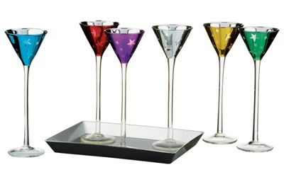 Artland Shooting Stars 7 Piece Liqueuer Set with Tray