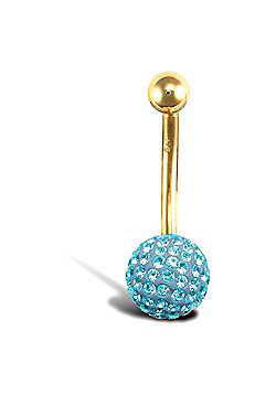 Jewelco London 9ct Yellow Gold Belly Bar with crystal-set end bead - Baby Blue