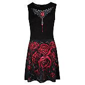 Spiral Blood Rose Mesh Layered Midi Skater Dress - Black