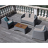 BrackenStyle Four Seat Rattan Sofa Set & Cushions - Light Grey