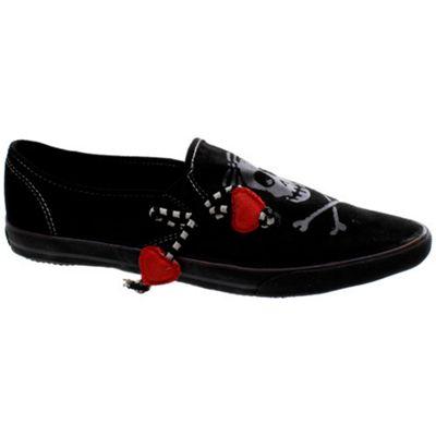 Draven Little Girl Skully Slip on Black Shoe