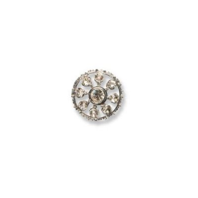 Impex Diamante Round Button - Crystal and Silver 30mm
