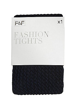 F&F Cable Knit Fashion Tights - Navy