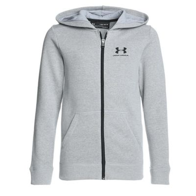 Under Armour Fleece Full Zip Kids Sports Hoodie Hoody Jacket - Grey - YXS