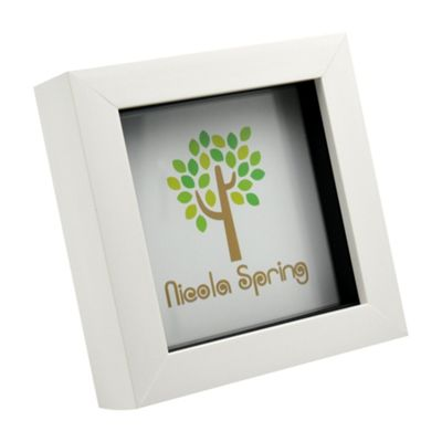 Nicola Spring White 4x4 Box Photo Frame - Standing & Hanging