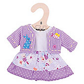 Bigjigs Toys Lilac Rag Doll Dress and Cardigan for 28cm Soft Doll - Suitable for 2+ Years