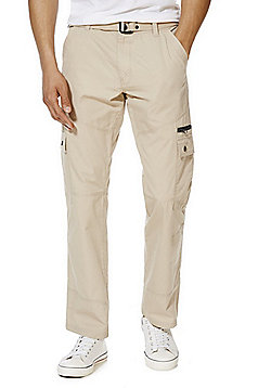 F&F Ripstop Loose Fit Cargo Trousers with Belt - Stone