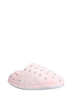F&F Metallic Star Print Slippers - Pink