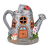 Christow Solar Powered Watering Can Fairy House - Silver