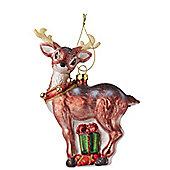 Retro Glass Reindeer Bauble