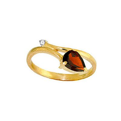 QP Jewellers Diamond & Garnet Top & Tail Ring in 14K Gold - Size O