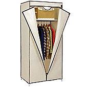 VonHaus Single Canvas Wardrobe Clothes Hanging Rail Shelves Storage Shelf Cupboard Beige