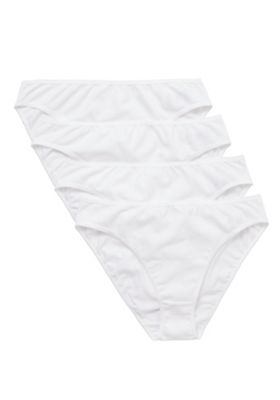 F&F 4 Pack of High Leg Briefs with As New Technology 10 White