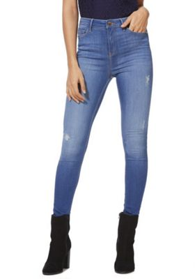 F&F Contour High Rise Skinny Jeans with LYCRA® BEAUTY Mid Wash 6 Long leg