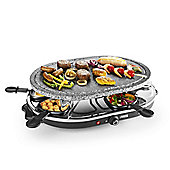 Oval Stone Raclette Grill, 1200w Electric with Adjustable Thermostat for a Party of 8
