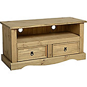 Corona Mexican 2 Drawer Flat Screen TV Unit Distressed Waxed Pine