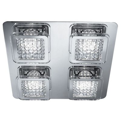 QUADRANT 4 LIGHT LED SQUARE FLUSH, CHROME, CLEAR ACRYLIC BEADS DECO