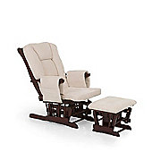 Hauck Glider Deluxe Nursing Chair and Stool - Walnut/Beige