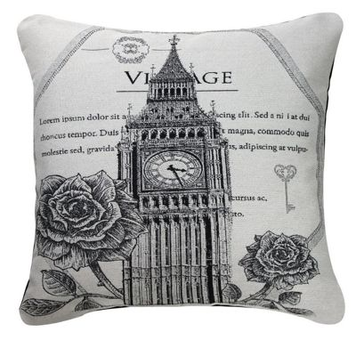 Black and White Cushion Vintage Style Big Ben Chic Design