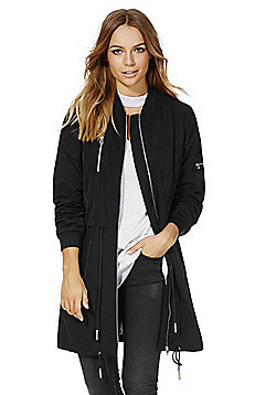 F&F Shower Resistant Long Line Bomber Jacket - Black