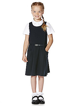 F&F School Soft Touch Pinafore with Belt - Navy