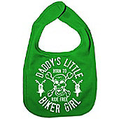 Dirty Fingers Daddy's little Biker Girl Baby Bib Green