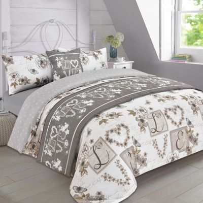Complete Bed in a Bag Duvet Set - Millie Hearts Natural Taupe, Single