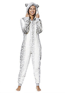 F&F Snow Leopard Fleece Onesie - Grey