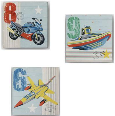 Zoom Away, Transport Canvas Art - Set of 3