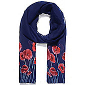 Navy and Red Poppy Print Scarf