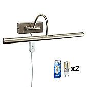 Modern Capri Plug LED Twin Picture Wall Light Brushed Chrome