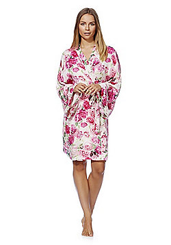 F&F Signature Rose Print Kimono Dressing Gown - Pink