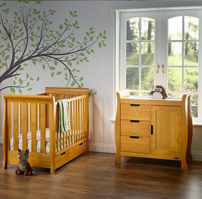 Obaby Stamford Mini Cot Bed 2 Piece Nursery Room Set - Country Pine