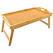 Top Home Solutions Lightweight Wooden Bamboo Serving Tray with Folding Legs