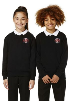 Unisex Embroidered V-Neck Cotton School Jumper with As New Technology 11-12 years Black