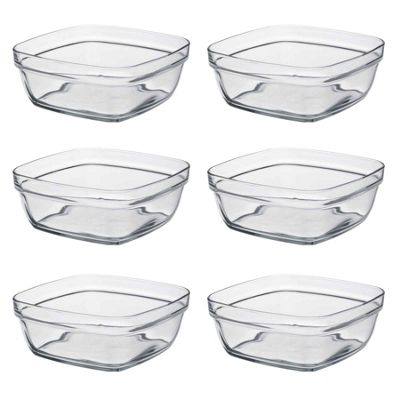 Duralex Square Stacking Glass Cooking / Ingredients Bowl - 17cm - x6