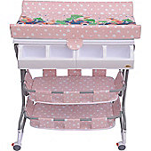 Homcom Baby Changing Table Station Storage Trays and Bath with Tub Pink