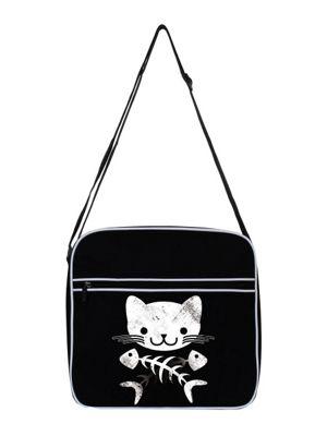 Cat & Crossbones Black Flight Bag 31x33cm