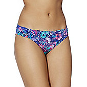 F&F Stud Detail Floral Print Narrow Bikini Briefs - Blue