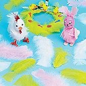 Yellow, White & Pink Feathers (Pack of 130)